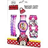 Kids Licensing |Reloj Digital + Pulseras para Niños | Reloj Minnie | Diseño Personajes Disney | Set Reloj y Pulseras Infantil