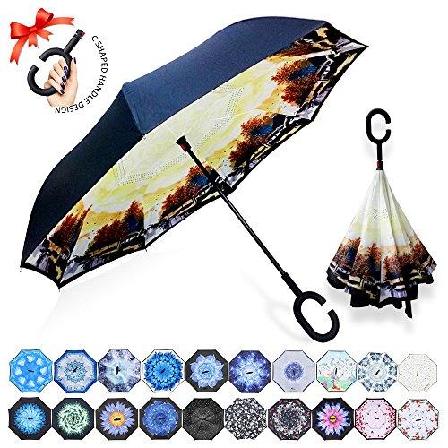 ZOMAKE Reversion Regenschirm, Innovative Schirme Double Layer Winddicht Regenschirm Freie Hand Taschenschirm Inverted Stockschirme mit C Griff für Reisen und Auto Outdoor di (Autumn Maple)