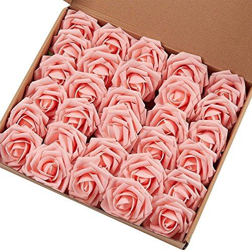 Marry Handeln Künstliche Blumen Rose, 30Stück Echte Touch Künstliche Rosen für Heimwerker Sträuße Hochzeit Party Baby Dusche Home Decor 60pcs Light Pink