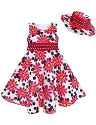 Sunny Fashion Robe Fille 2 Pecs Chapeau Fleur Été Partie Vacances Princesse