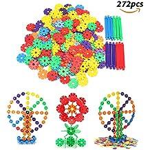 FUNTOK 272 piezas Copos de nieve de Construcción, Snowflakes Building Block juguetes Bloques educativos estimular la creatividad la imaginación construcción juguetes de plástico para niños preescolare