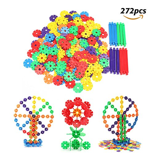 FUNTOK Brain Flakes Snowflakes Building Blocks Construction Toys Interlocking Plastic 272PCS Discs Puzzle Game Educational Toys For Kids