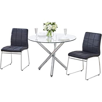 21a10a16428 GIZZA Small Round Clear Glass Dining Table and 2 4 Sled Based Grey Black
