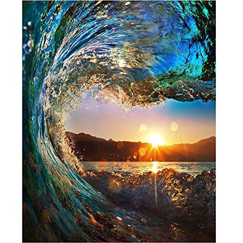 Wowdecor DIY Malen nach Zahlen Kits Geschenk für Erwachsene Kinder, Malen nach Zahlen Home Haus Dekor - Sonnenuntergang Blau Meer Wellen 40 x 50 cm ohne Rahmen
