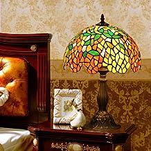 Wisteria patrón manchado lámpara de mesa lámpara del dormitorio de la lámpara de noche Lámpara de mesa de cristal lámpara de escritorio de cristal decorado