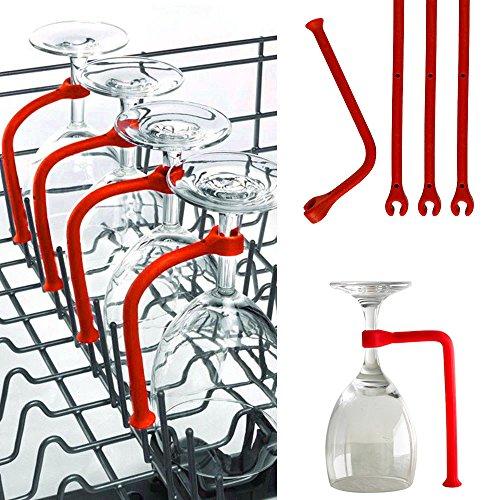 TPulling Weinglashalter, 4 Stück Einstellen Silikon Weinglas Geschirrspüler Becherhalter...