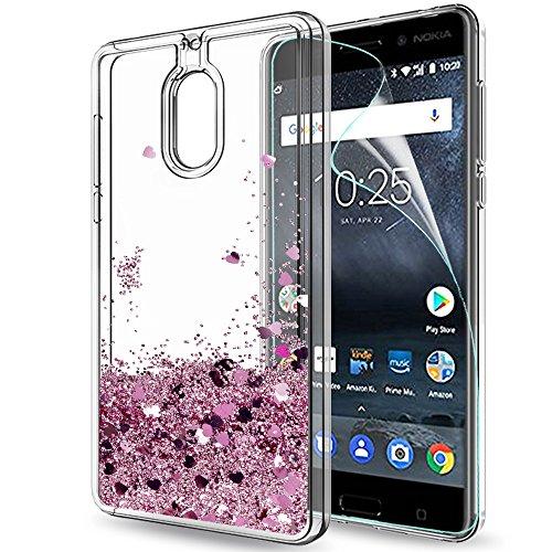 LeYi Hülle Nokia 6 Glitzer Handyhülle mit HD Folie Schutzfolie,Cover TPU Bumper Silikon Flüssigkeit Treibsand Clear Schutzhülle für Case Nokia 6 Handy Hüllen ZX Rot Rosegold