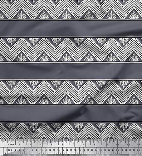 tin Stoff Blumen & Chevron Block Stoff Drucke Meter 42 Zoll breit ()