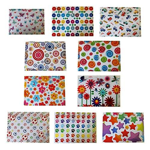 10 Designs, jeweils 2 Stück, Vielzahl Design Button Geldbeutel A4+. 20 Geldbeutel insgesamt (Zip-aktentasche Top)