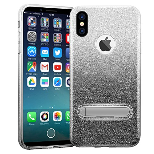 Custodia iPhone X/10 Cover Case, WZE-Shock Assorbimento, copertura TPU resistente ai graffi e materasso in plastica magnetica Bling Crystal Clear Premium 3 Layer Miscela Custodia protettiva per iPhone Gradiente grigio