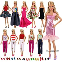 Miunana 5 PCS Handmade Daily Fashion Causal Clothes Outfits Bundle with 10 shoes for Barbie Doll Random Stlye