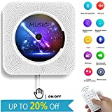 Reproductor de CD, Alice Dreams Lectore montar en la pared altavoz Bluetooth Portable Home Audio con mando a distancia incorporado Radio FM Altavoz HiFi USB MP3 Auriculares de 3,5 mm Jack AUX Input/Output, color blanco