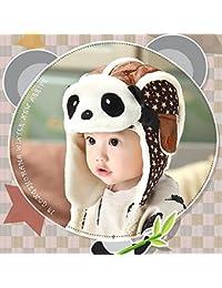 HuntGold Enfants Beau Panda Casquette Chaud Velours Hiver Aviateur Masque Chapeau pour Bébé Café