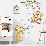 R00154 Adesivi Murali Soffice Effetto Tessuto Orsetti sull'altalena Decorazione Muro Bambino Neonato Nursery Cameretta Asilo