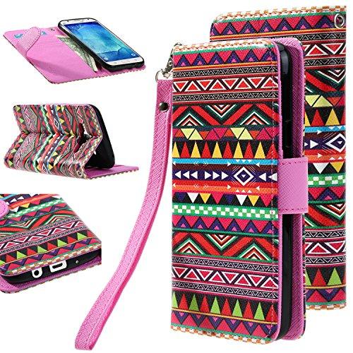 J5 case, Galaxy J5 Flip cover, E LV Samsung Galaxy J5 Flip Folio Wallet Case Cover - Deluxe PU Leather Flip Wallet Case Cover for Samsung Galaxy J5 - TRIBAL