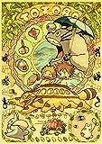 ndegdgswg Film de la série Anime Hayao Miyazaki Affiche Totoro Spirited Away (Salle de café pour Les Enfants, décor à la Maison, Papier Kraft), Affiche de Peinture Vintage (40 * 60cm)@42X30CM_D148