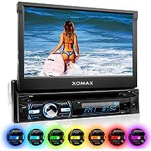 XOMAX XM-DTSB930 autoradio con 18 cm (7 pulgadas) LCD pantalla táctil + Bluetooth dispositivo manos libres y función de reproducción + código libre DVD / CD reproductor + Ranura de extensión por SD – tarjetas y USB conexión + Audio y Vídeo entretenimiento: MP3 WMA MPEG4 AVI + RGB Multi colores de iluminación ajustable: azul, rojo y mucho más + conexión por retrovisor y por subwoofer + Single / solo DIN (DIN 1) medida estándar para el montaje + incluido mando a distancia