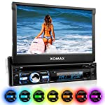 """XOMAX XM-DTSB930 Car Stereo / Car Radio / Moniceiver + 18 cm / 7"""" touch screen + Bluetooth handsfree and music playback (A2DP) + codefree DVD / CD player + USB port (up to 128 GB) and SD slot (up to 128 GB) for audio, video, MP3, MPEG4, WMA, AVI, JPEG etc. + Detachable front panel+ RGB Multi LED Colours blue, red, yellow, purple, pink, green, white, turquoise and more - Single DIN (DIN 1) Standard Installation Size + Including Protective Case, Cage, Trim and Remote Control"""