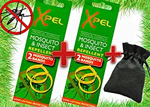 Mosquito & Insect REPELLENT Wrist Bands (2 Packs = 4 Bands + Cotton Carry Pouch)