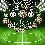 Bdecoll 30 Stück Fußball Folie Deckenleuchte Hängedekoration, Spirale Girlanden Home Bar Dekoration für 2018 World Cup Party Geburtstag Party Decro