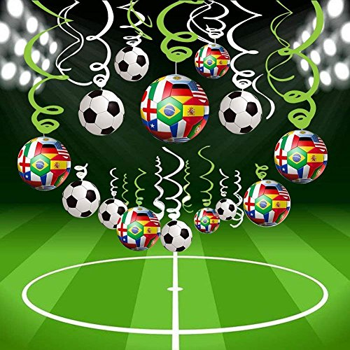 Bdecoll 30Pcs Decoración de Fútbol-Artículos decorativos para colgar estilo fútbol