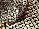 Tessuto con stampa a forma di squame di pesce a forma di sirena, tessuto elasticizzato a 2 vie, in lycra, elastan, per bikini, costumi, abiti, decorazioni, 150 cm di larghezza, Oro e nero, 1 METER
