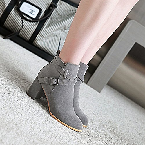 HAIZHEN  Stivaletto Scarpe da donna Scarpe da tiro / moda Boots Outdoor / Ufficio & carriera / Scarpe marrone casual Beige Nero Marrone Grigio 2.75in 7cm Per 18-40 anni ( Colore : Beige , dimensioni  Grigio