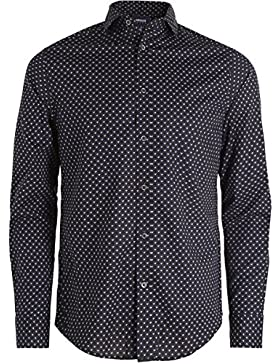 Armani Jeans Hombres camisa Slim fit logo Negro