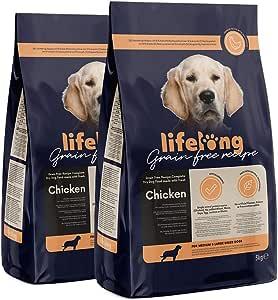 Marchio Amazon - Lifelong Alimento completo con pollo fresco, ricetta senza grano per cani di razza media e grande - 5kg*2
