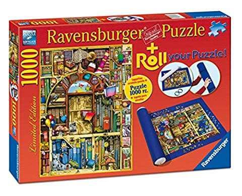 Ravensburger 19909 - Kuriose Bibliothek + Puzzle-Matte - 1000 Teile