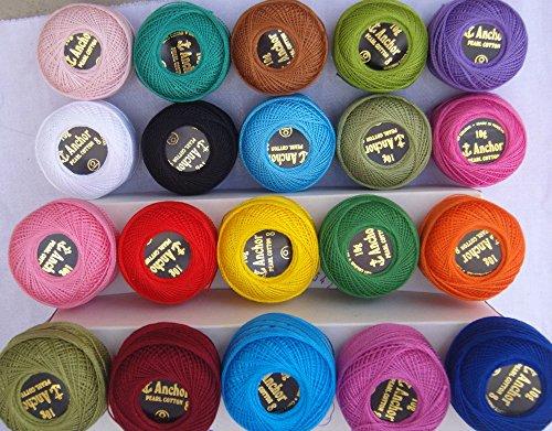 20 ANCHOR Pearl Cotton Balls. Size 8 85 Metres each,