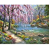 Buydee Romantic Cherry Blossoms DIY Canvas Digital Oil Painting By Numbers Kits Wall Art Artwork For Home Living Room Office Paint Decor Decorations Gift