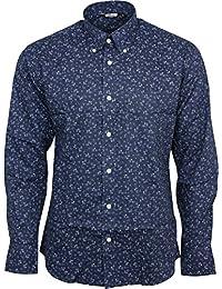 Relco London - Chemise Homme Floral Manche Longue Col Boutonné 100% Coton Mod Standard Skinhead Rétro Indie Vintage Années 60 70