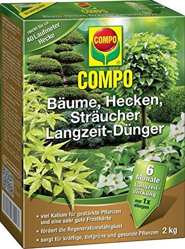 COMPO Langzeit-Dünger für alle Bäume, Hecken und Sträucher, 6 Monate Langzeitwirkung, 2 kg, 40m² (Hecke Baum)