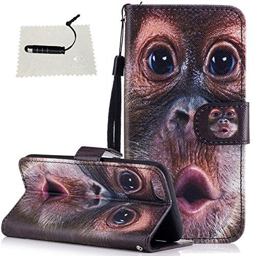TOCASO Schutzhülle für iPhone 6 / 6S Hülle Flip Cover Case Wallet BriefTasche hülle Handyhülle Schutz Hülle Klapphülle Rückseite Stand und Karte Halter Magnet -Lustige Orang-Utans