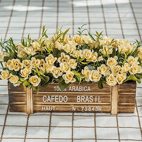 n des Hölzernen Blumenkastens des Hölzernen Zauns Kreatives DIY Hochzeitsfestküchenhotelausgangsdekoration Sehr Realistisches Sehr Gelb-10 ()