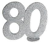 cama24com XXL Tischdeko Zahl 80 Geburtstag Silber Glitzer 1 Stück Party Deko Palandi