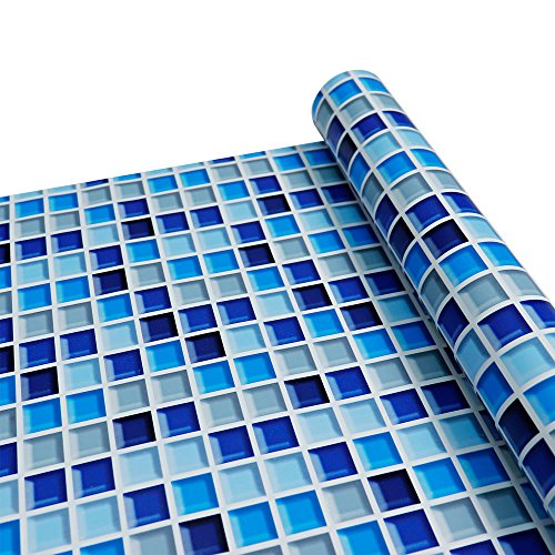 Yenhome Badezimmer Blau Abnehmbare PVC Wandtattoo Küche Wasserdicht Selbstklebende Tapete Mosaik...