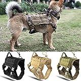 Tierbedarf für Katze und Hund, Einstellbare Molle Nylon Weste, Polizei K9 Tactical Training Hundegeschirr Militär (Farbe : Khaki, Größe : M)