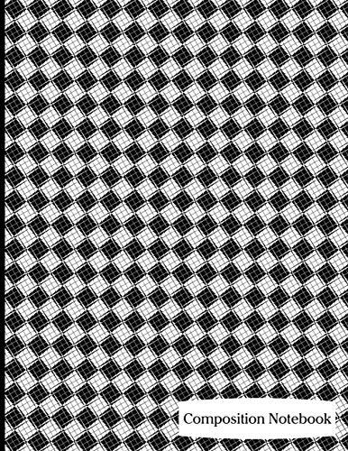 Composition Notebook: Black Diagonal Checkers Composition Notebook - 8.5