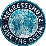 2 x MeeresSchutz Abzeichen 60 mm / Save the Ocean / Schutz für Ozean Welt-Meer Clean Wal Delfin Hai / Stopp Verschmutzung Plastik-Müll Gift Fisch-Fang / Aufnäher Aufbügler Flicken Sticker Patch