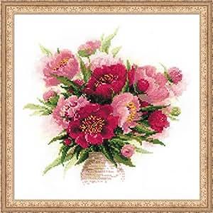 Baumwolle Riolis Kreuzstich-Set Hortensie Mehrfarbig 35 x 30 x 0.1 cm