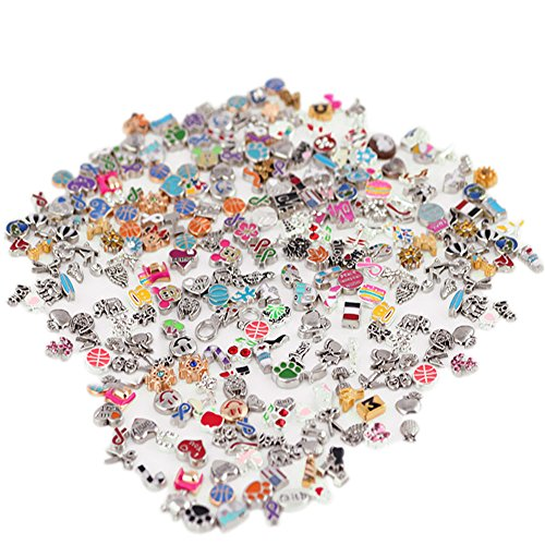 Contever® Nette 100Pcs / Lot DIY Mix Floating-Charm für Glas lebendige Gedächtnis Locket (Stil in random)