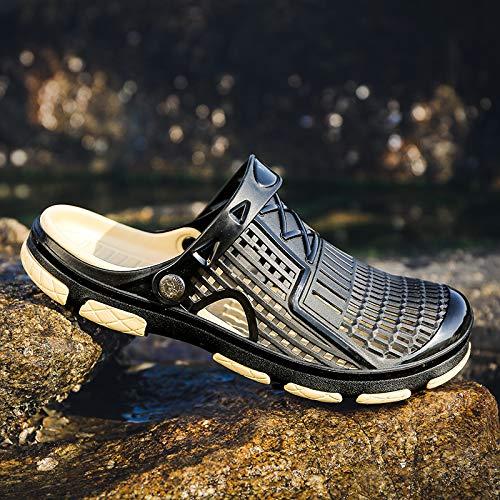 Shukun Herrensandalen Baotou Slippers Summer Wear Shoes Men's Sandals Soft Bottom Half Slippers Outdoor Non Slip Beach Shoes Men's Soil, 41, Black A