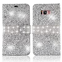 Vandot For Samsung Galaxy S8 Plus Flip PU Leather Magnetic Closure Wallet Case, Luxury 3D Bling Diamond Glitter Shinning Rhinestone Exclusive Design Non-Slip Shock-Absorbing Premium Practical Full-body Protective Cover-Sparkle Silver