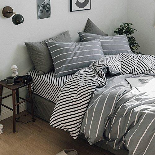 Smncnl Nordic Einfachheit, kalter Wind Baumwolle 4-teilig Gestreifte grid voll Tröster Set Bettwäsche Bettwäsche Unternehmen hoch, 2,0 M