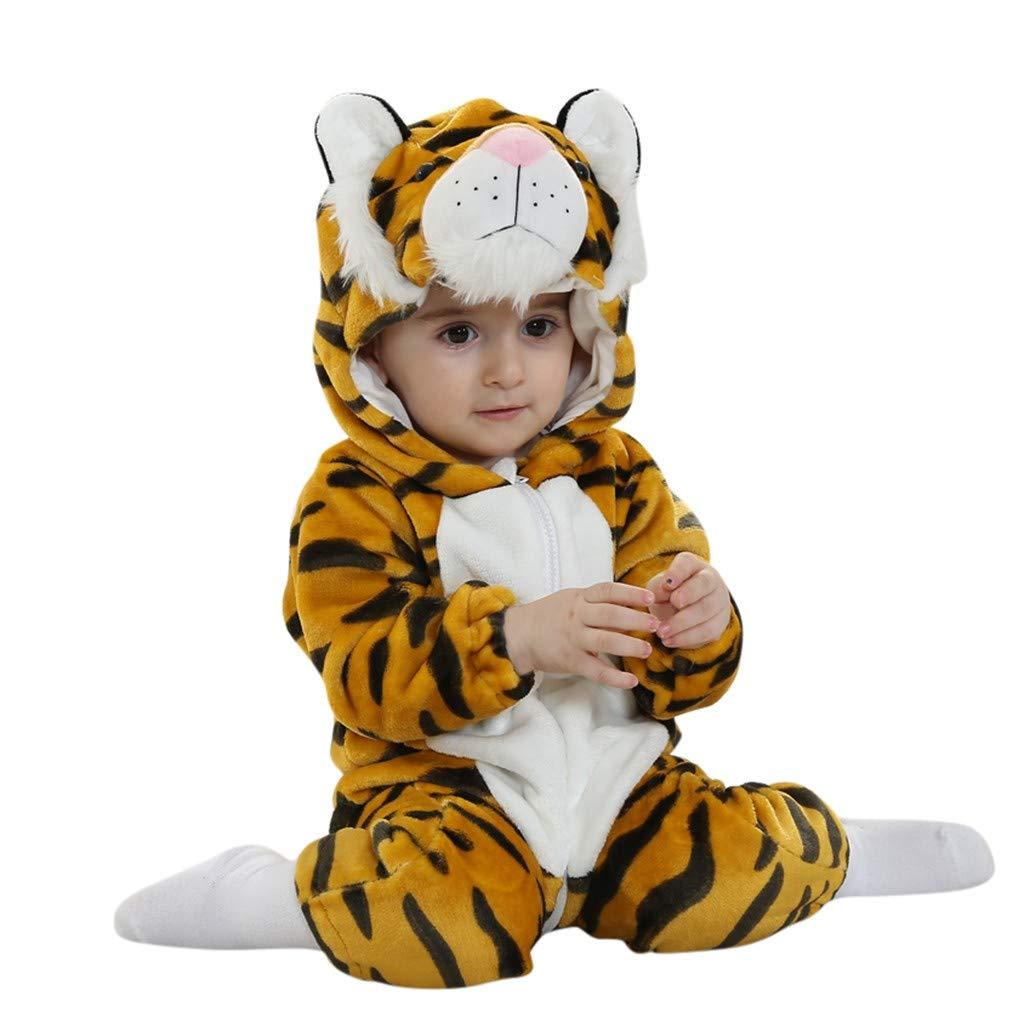 Niña Peleles Invierno Animal Mameluco con Capucha y Cremallera En Forma de Tigre para Niño Acogedor Disfraz de Cosplay de Algodón Ropa Abrigada de Invierno