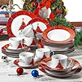 VEWEET Serie CHRISTMASTREE, servizio da tavola in porcellana, 30 pezzi, 6 tazza, 6 piattini, 6 piatti da dessert, 6 piatti piani e 6 piatti di zuppa, stoviglie di Natale per 6 persone