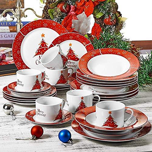 flirt geschirr weihnachten VEWEET, Serie Christmastree, Porzellan Kombiservice, 30-teilig Geschirr Set für Weihanchten
