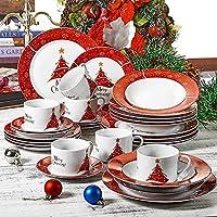 VEWEET, Serie Christmastree, 30 Piezas vajillas de Porcelana, 6 Tazas 6 platillos 6 Platos de Sopa 6 Plato de Comida 6 Platos de Postre vajilla de Navidad para 6 Persona